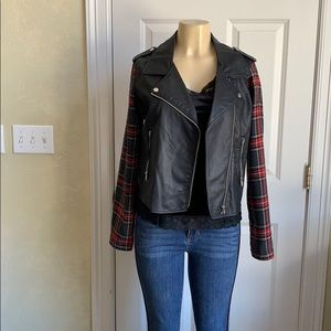 Faux leather jacket with plaid sleeves free camo